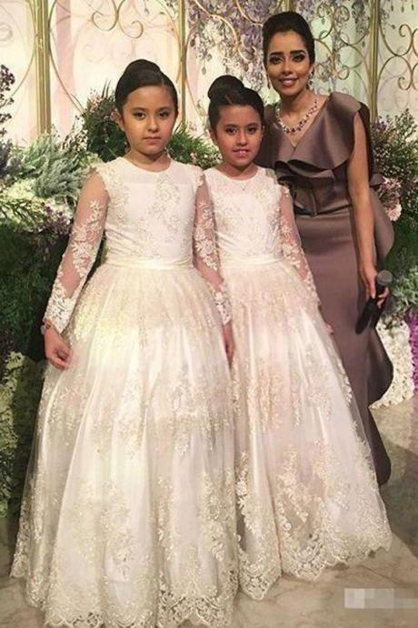 Ivory Long Sleeves Flower Girls Dresses Appliques Tulle Jewel Neck A-Line Kids Formal Dresses